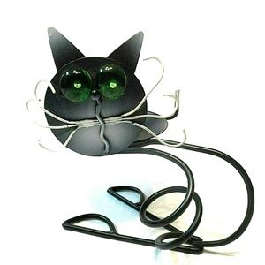 Other - Metal Cat Votive Candle Holder with Green Eyes